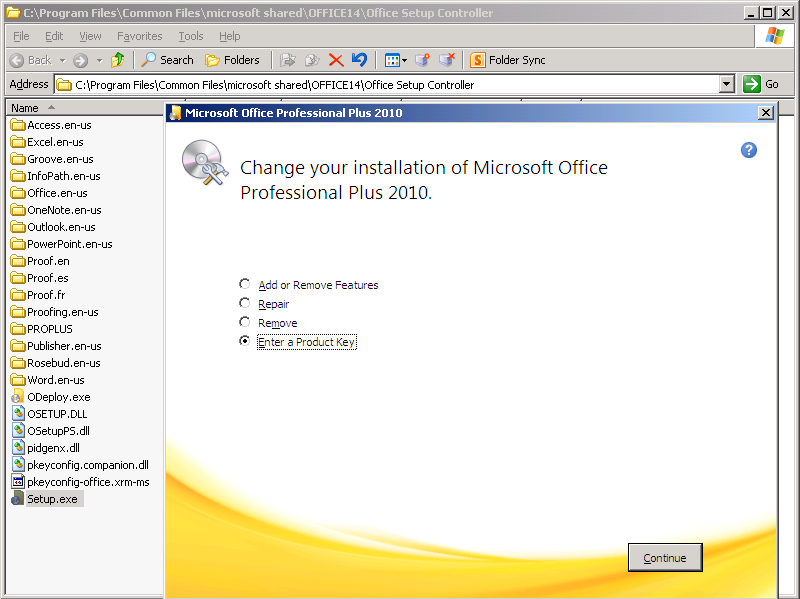 how to re enter office 2010 activation key