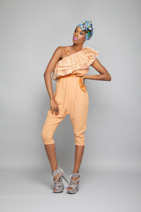 Craped Salmon one shoulder cropped harem playsuit  -africanf ashion designer