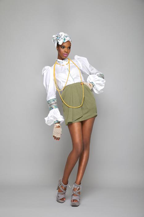 Puff Ball Victorian Shirt, Green Pleated Goddess Skirt