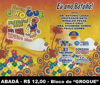 CARNAVAL É NO BLOCO DO GROGUE!!!