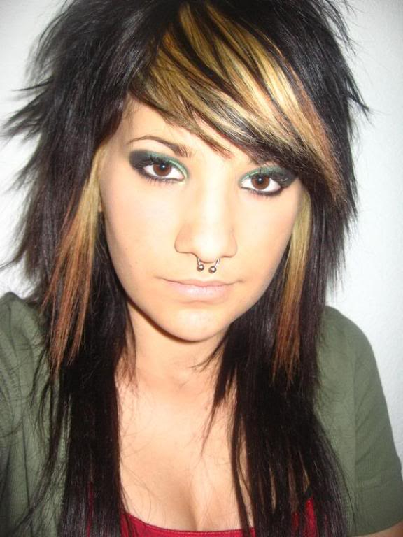 girls with highlights in their hair. emo hairstyles for girls with