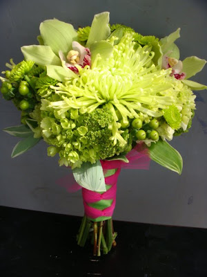 lime green flowers Flowers consisted of spider mums kermit poms