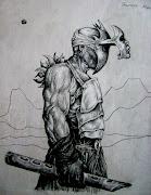 Dibujos en lápiz sobre madera. Publicado por miguelartro en 16:13 el flautista
