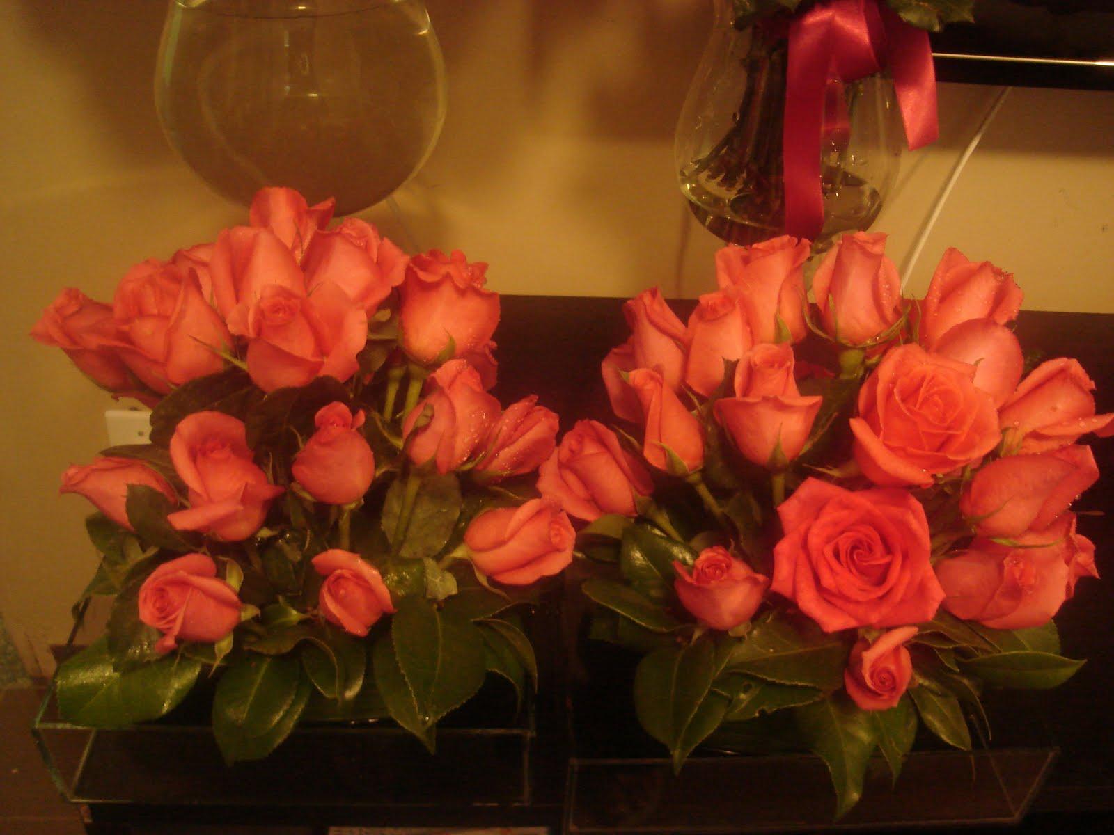 Arranjos   Rosas Pink Para Serem Colocados Nas Mesas De Convidados