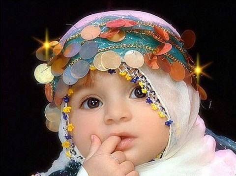 Cute Muslim Baby Girl in White Hijab photo