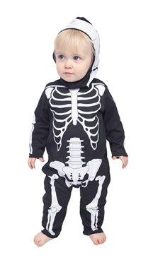 Cute baby boy in skeleton costume