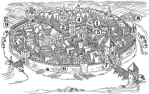 Aufbau gebäude einer mittelalterlichen stadt