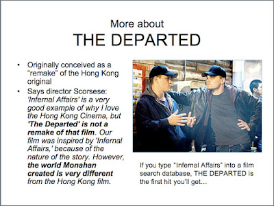 comparing the departed and infernal affairs Before there was the departed, there was infernal affairs  times (he also  compared it to michael mann's heat), is playing at the film society.