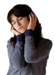 Girl listening to tones, Sound Therapy