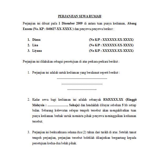 Tenancy Agreement Malaysia