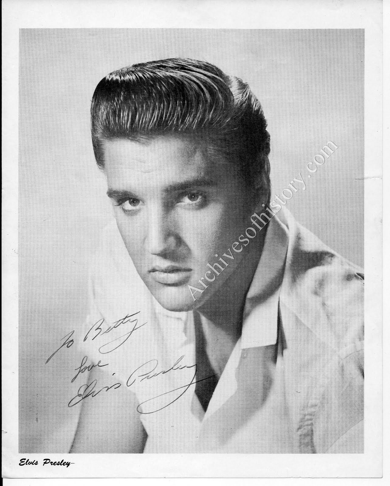 Archives Of History Elvis Presley Signed Photo To Fan Club President