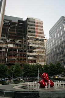 Fiterman Hall damage from Greenwich St - looking North by lawhawk 2007