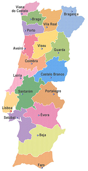 DISTRITOS DE PORTUGAL CONTINENTAL