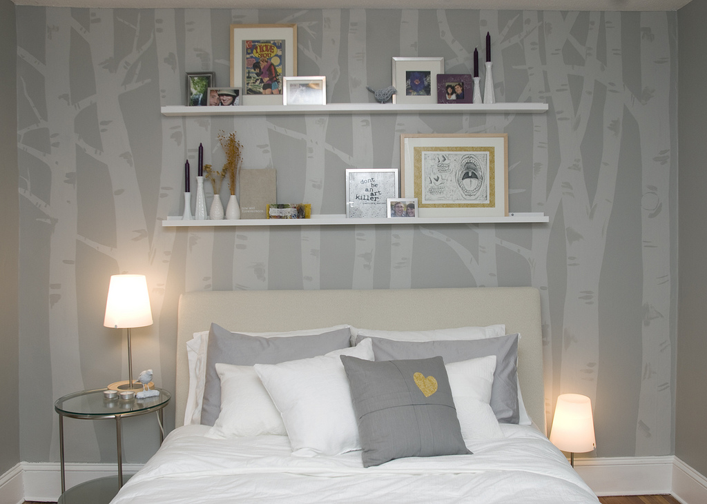 Bright home birch trees in your bedroom how lovely for Beautiful birch tree wall mural
