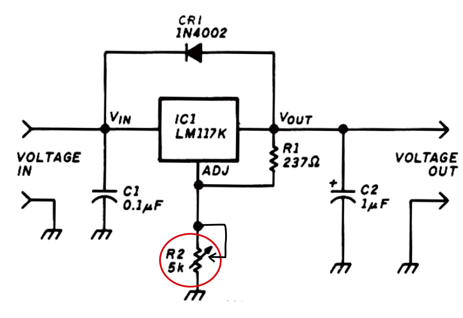 variable voltage regulator with ic lm117k