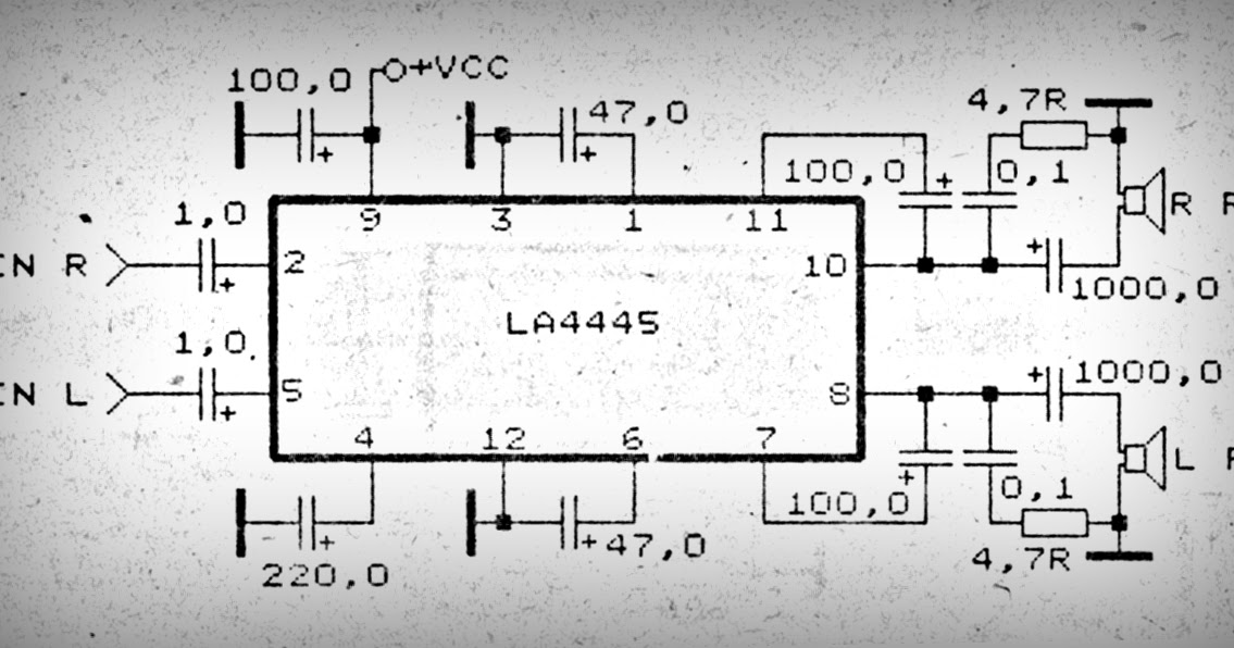 car amplifier with ic la4445 subwoofer bass amplifierSchematic Audio Power Amplifier With Ic Tda2612 #7