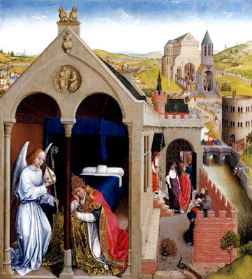 (Weyden, Roger van der. The Dream of Pope Sergius. c. 1437-40. oil on panel.