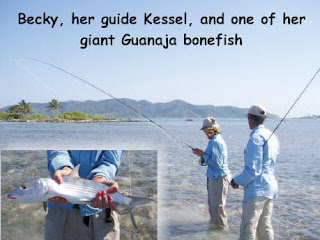 Photo of Becky and her guide, Kessel, fly fishing with an inset photo of one of Becky's bonefish