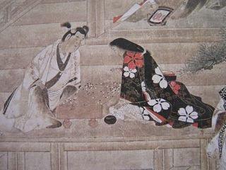 Un jeune garçon et une jeune fille jouant au go. Rouleau vertical datant du XVIIe siècle.