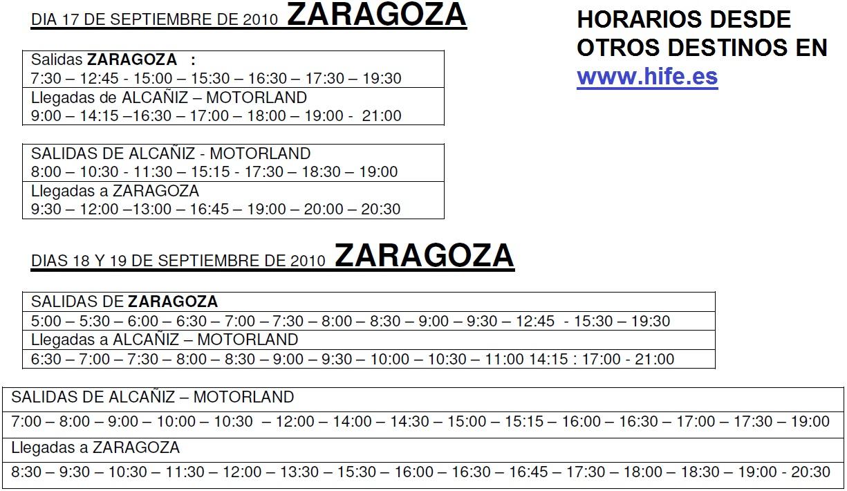 Transporte p blico en zaragoza transporte a motorland para septiembre - Horario oficina correos madrid ...