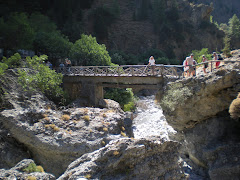The bridge to a check point at the Samoria Gorge