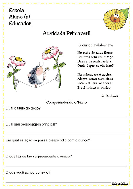 Atividade Texto E Interpreta    O Projeto Primavera