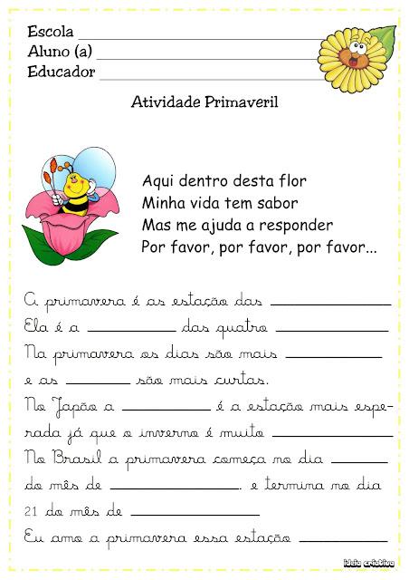 Atividades Projeto Primavera Língua Portuguesa