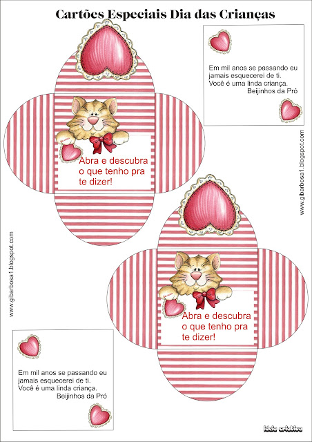 Lembrancinha Dia das Crianças Molde de Envelope e Cartão Coração.