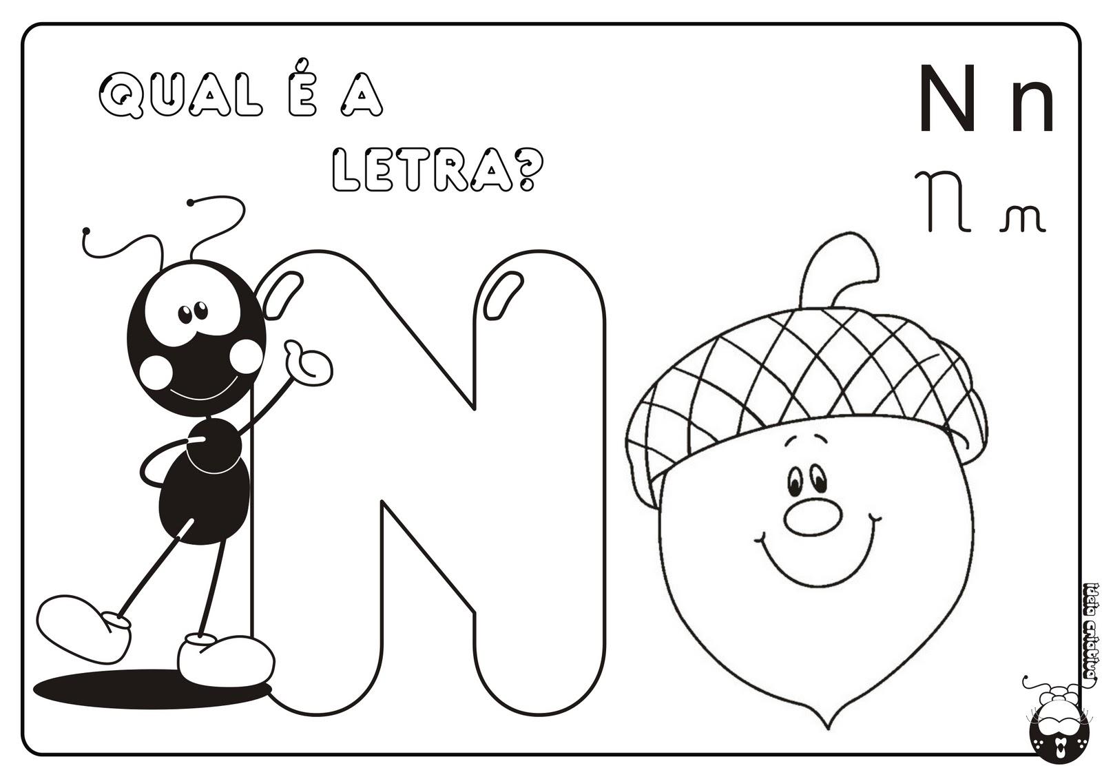 Alfabeto Smilinguido 4 tipos de letra para Baixar Grátis Letra N