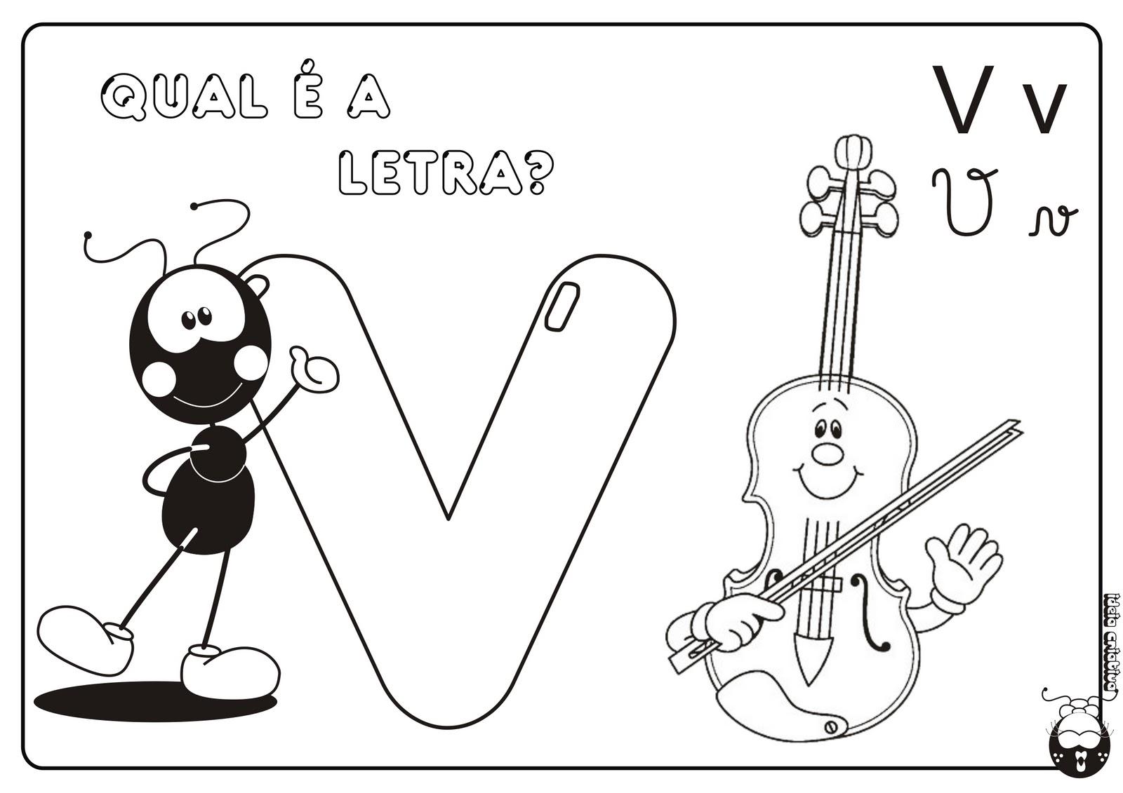 Alfabeto Smilinguido 4 tipos de letra para Baixar Grátis Letra v