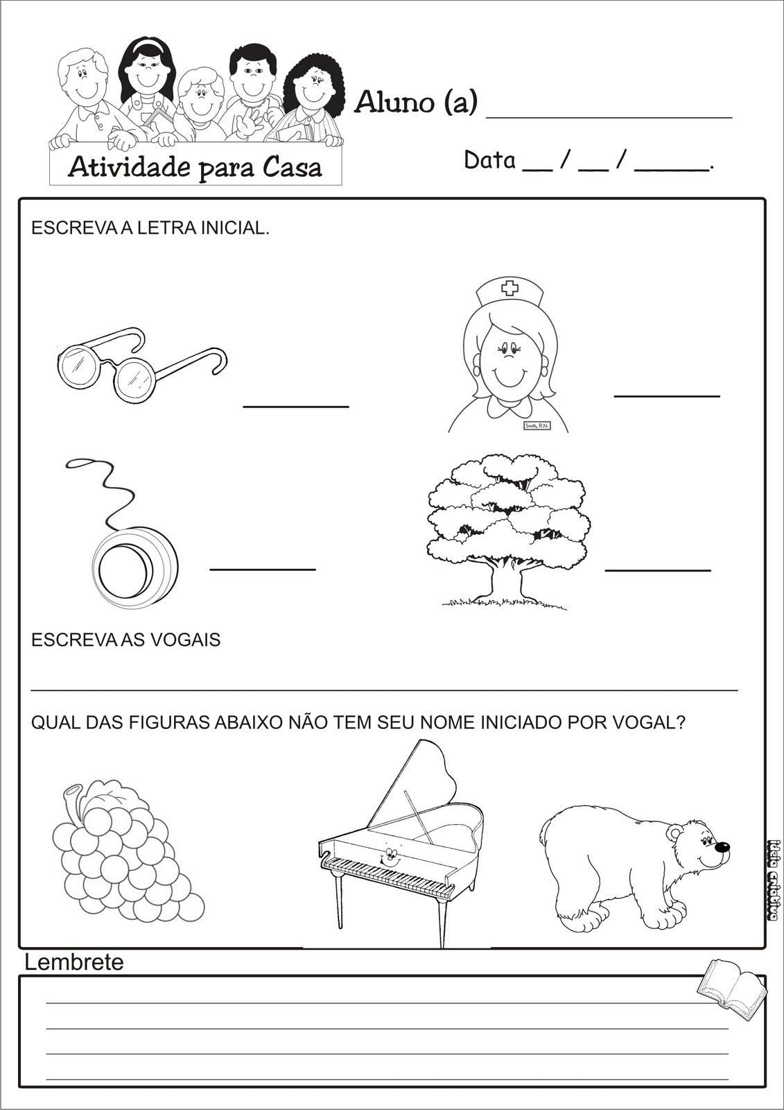 Caderno De Atividades Para Casa Pra Trabalhar Vogais   Sua Turminha
