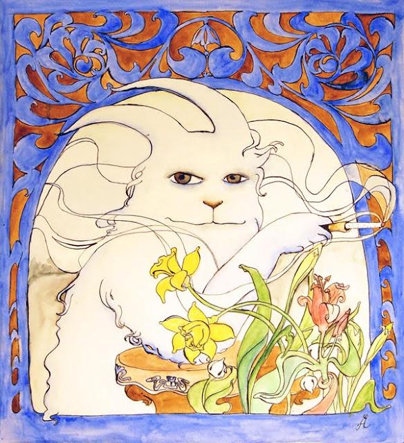 Cigarette a la Alphonse Mucha, rabbit