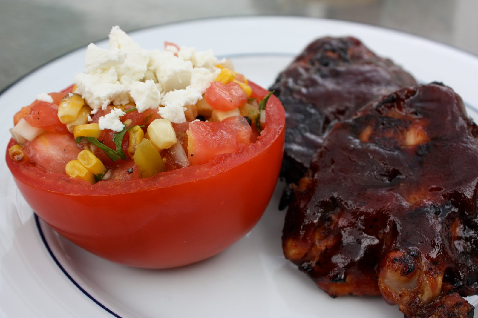 Tomatoes Stuffed With Grilled Corn Salad Recipe — Dishmaps