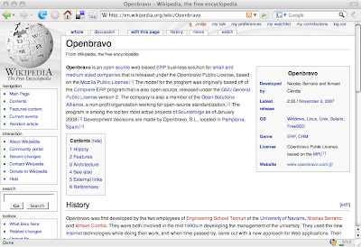Openbravo in the Wikipedia