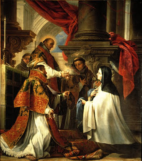 Juan Martín Cabezalero, Comunión de Santa Teresa, ca. 1670. Óleo sobre tela. Col. Fundación Lázaro Galdiano, Madrid, España. c. Fundación Lázaro Galdiano