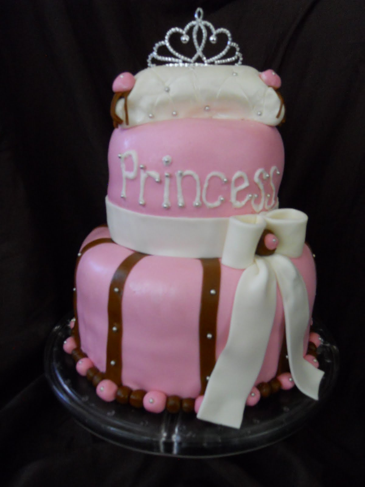 princess cake i made for a pink and brown princess themed baby shower