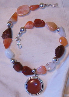 fire opal, carnelian and sterling silver