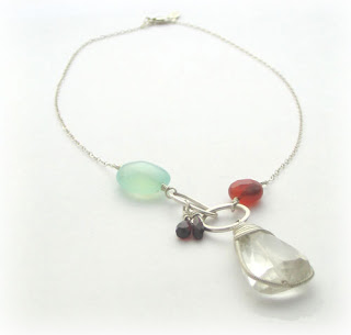 green calcite, garnet, carnelian, clear quartz and sterling silver