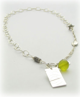 olive quartz and sterling silver