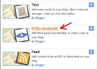 Select HTML or JavaScript on blogger