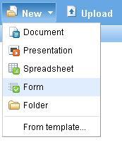 Choose new form in Google Docs