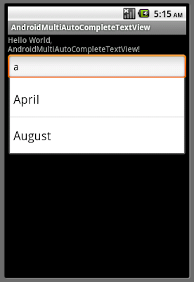 Example of MultiAutoCompleteTextView