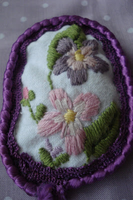 fabric embroidered brooches