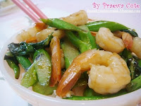 Kale in oyster sauce with shrimp