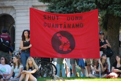Shut Down Guantanamo sign - DNC in Denver