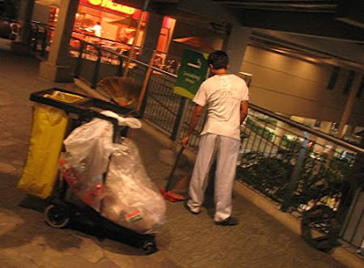 Trinoma janitor at night