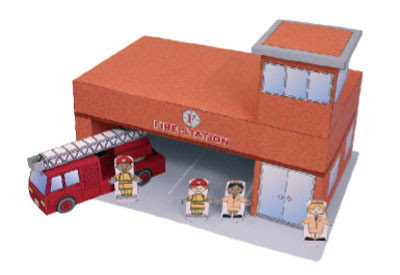 fire station paper toy
