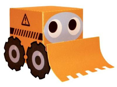box shape bulldozer paper toy