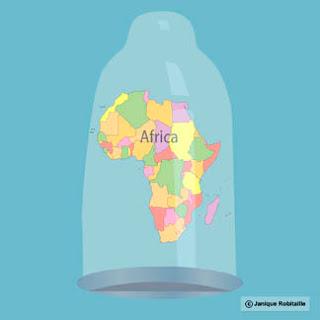 illustration de l'Afrique dans un condom qui se protège du sida