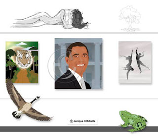 illustrations diverses, femme, arbre, Obama, danseurs, tigre, bernache et grenouille